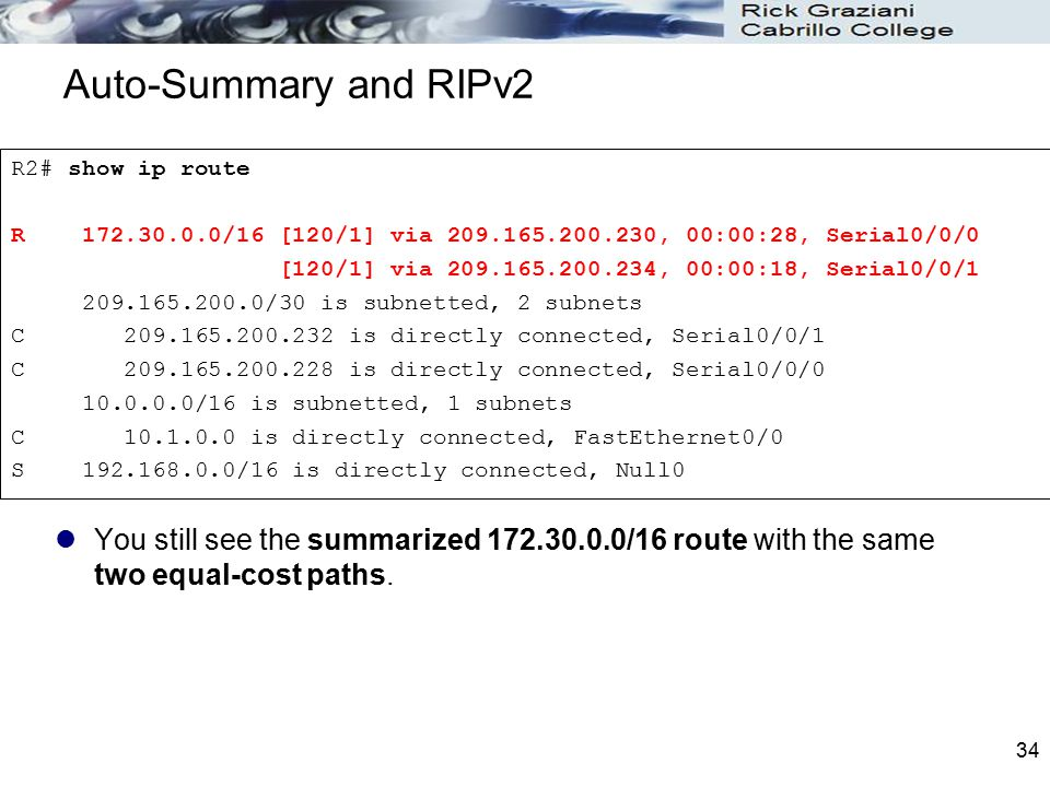 Auto-Summary and RIPv2 R2# show ip route. R 172.30.0.0/16 [120/1] via 209.165.200.230, 00:00:28, Serial0/0/0.